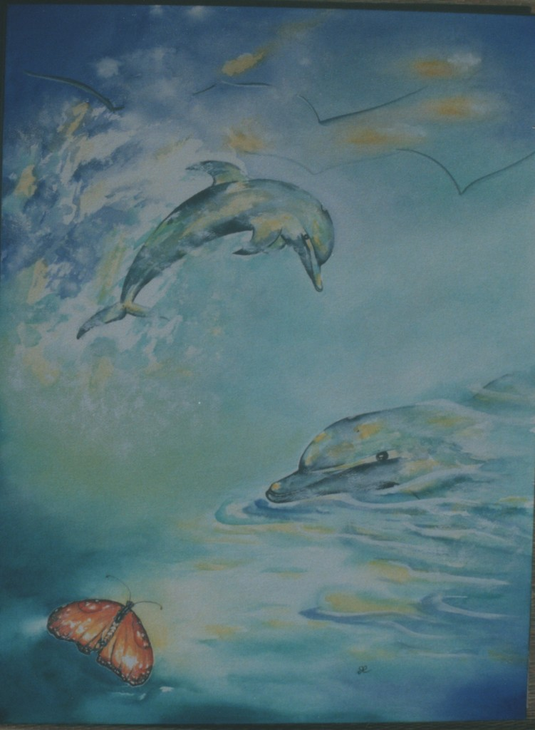 Dolphins and butterfly by visionary artist Madeleine Tuttle