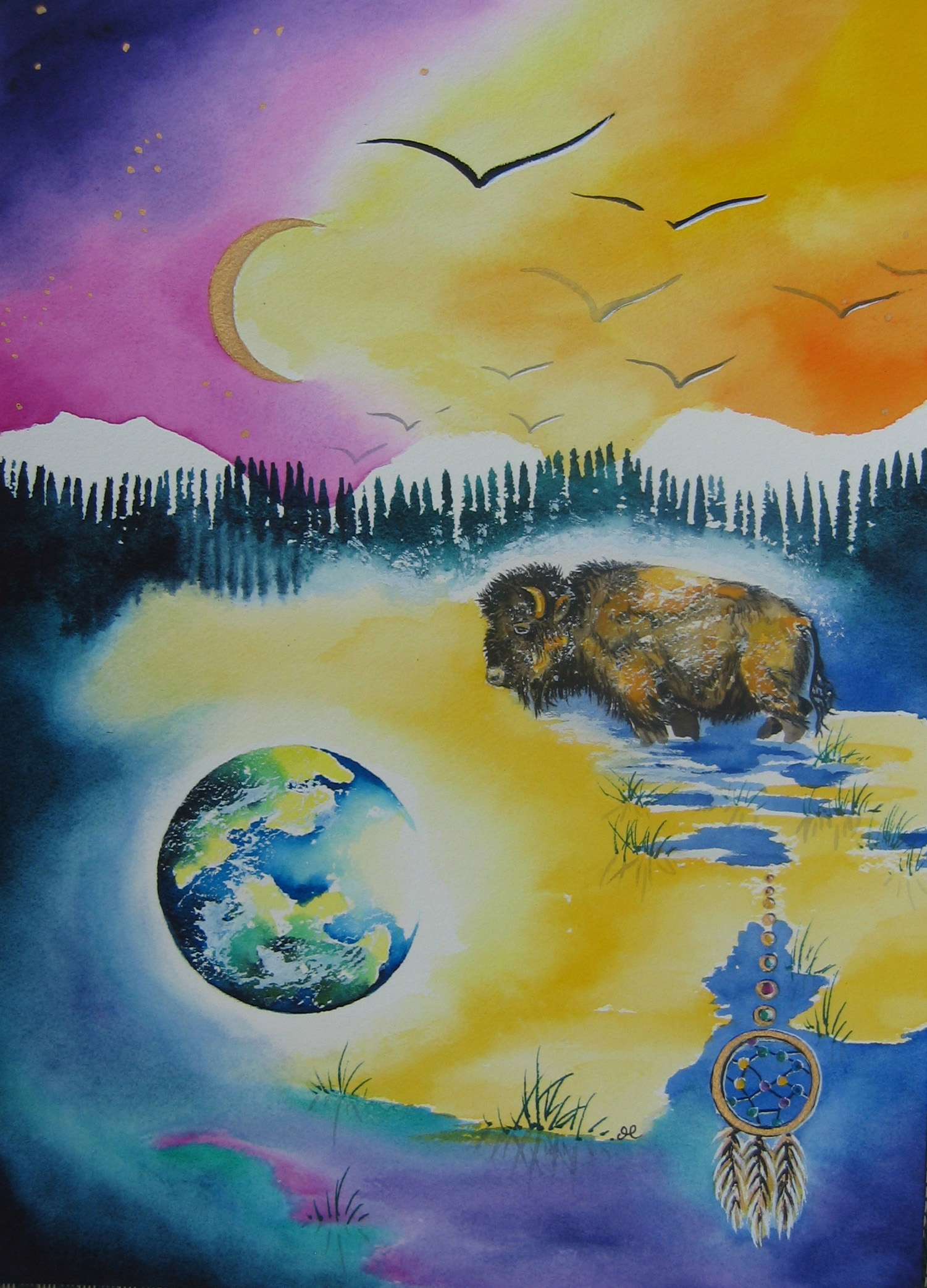 Bison by visionary artist Madeleine Tuttle