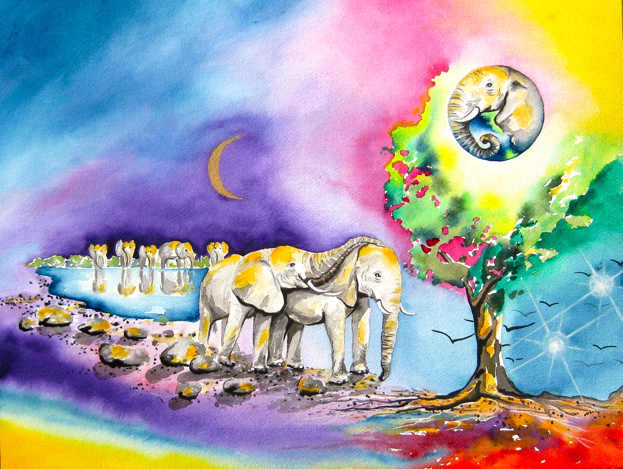Elephants by visionary artist Madeleine Tuttle
