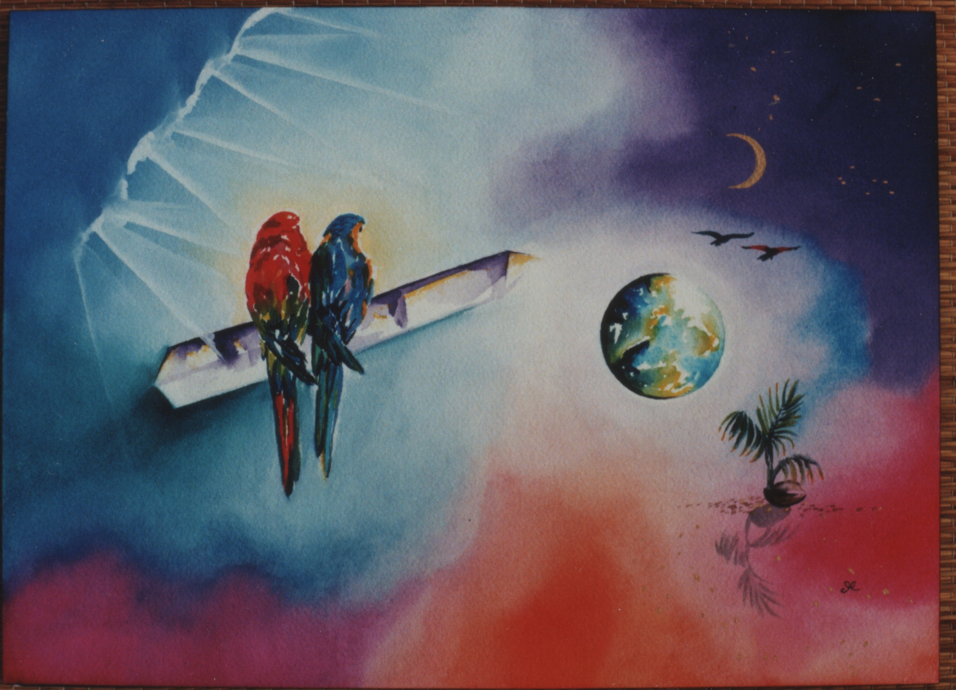 Parrots by visionary artist Madeleine Tuttle