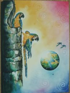 Parrots by artist Madeleine Tuttle